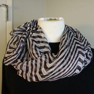 Zara Black/White Striped Chevron Scarf